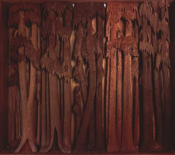 Quot redwood forest grove panels carved wood sculpture